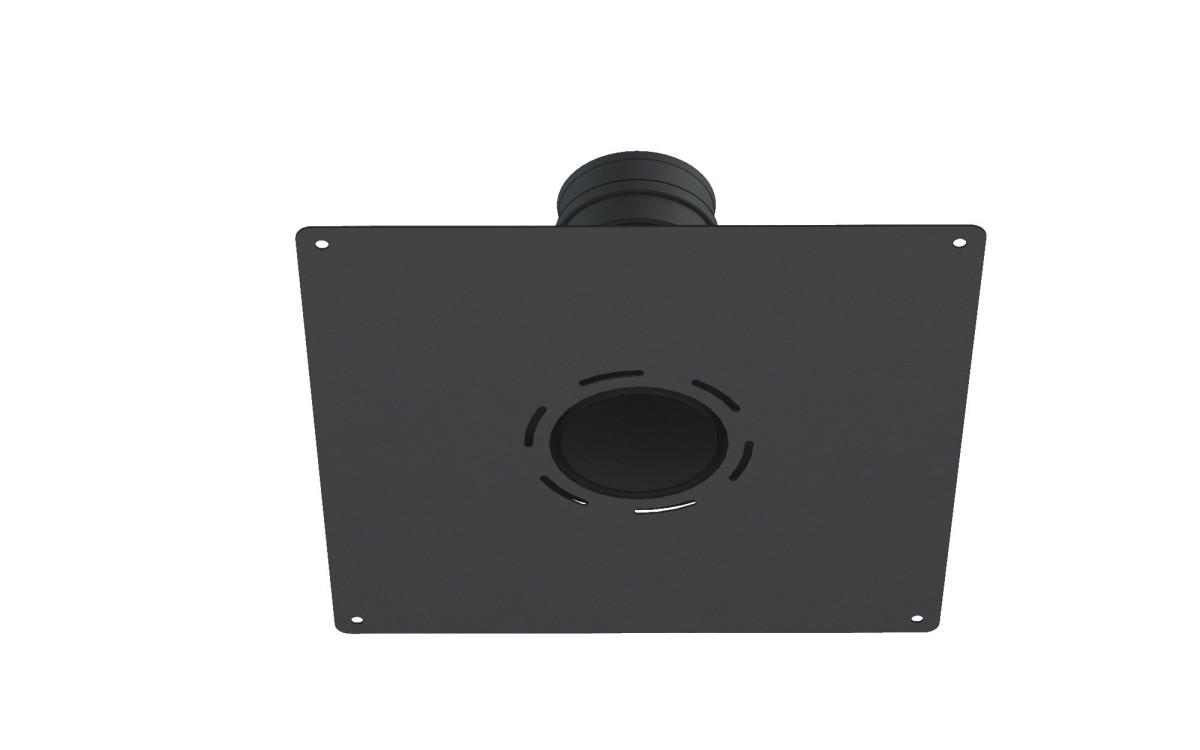 Adaptor pelletbuis naar flexibel, met plafondplaat zwart
